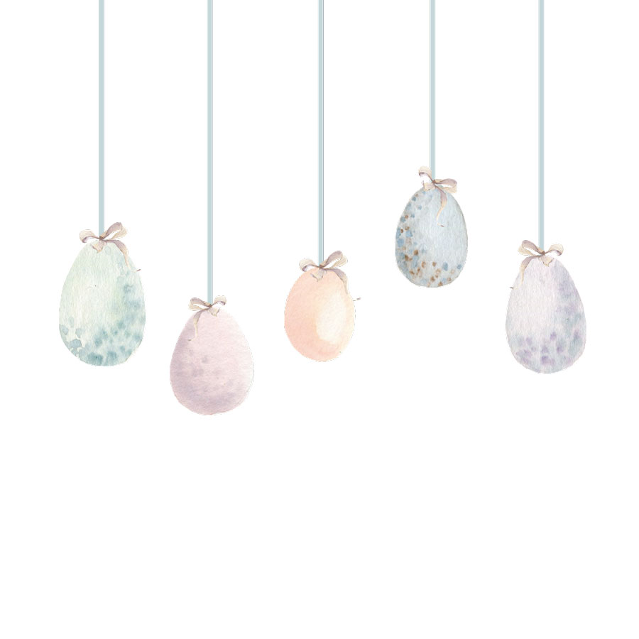 Pastel Easter egg windows stickers on a white background