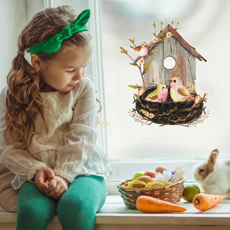 Birdhouse and nest window sticker is a great way to decorate your home this Easter time