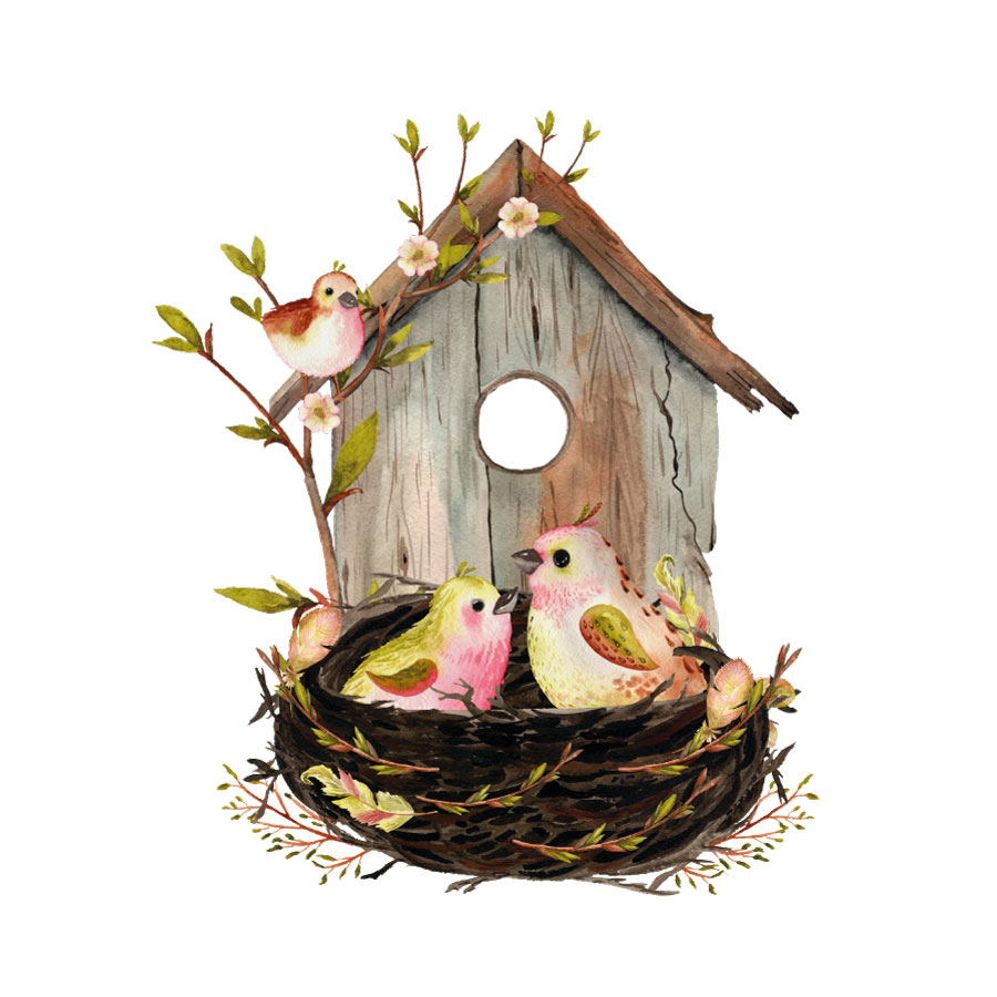 Birdhouse and nest window sticker on a white background