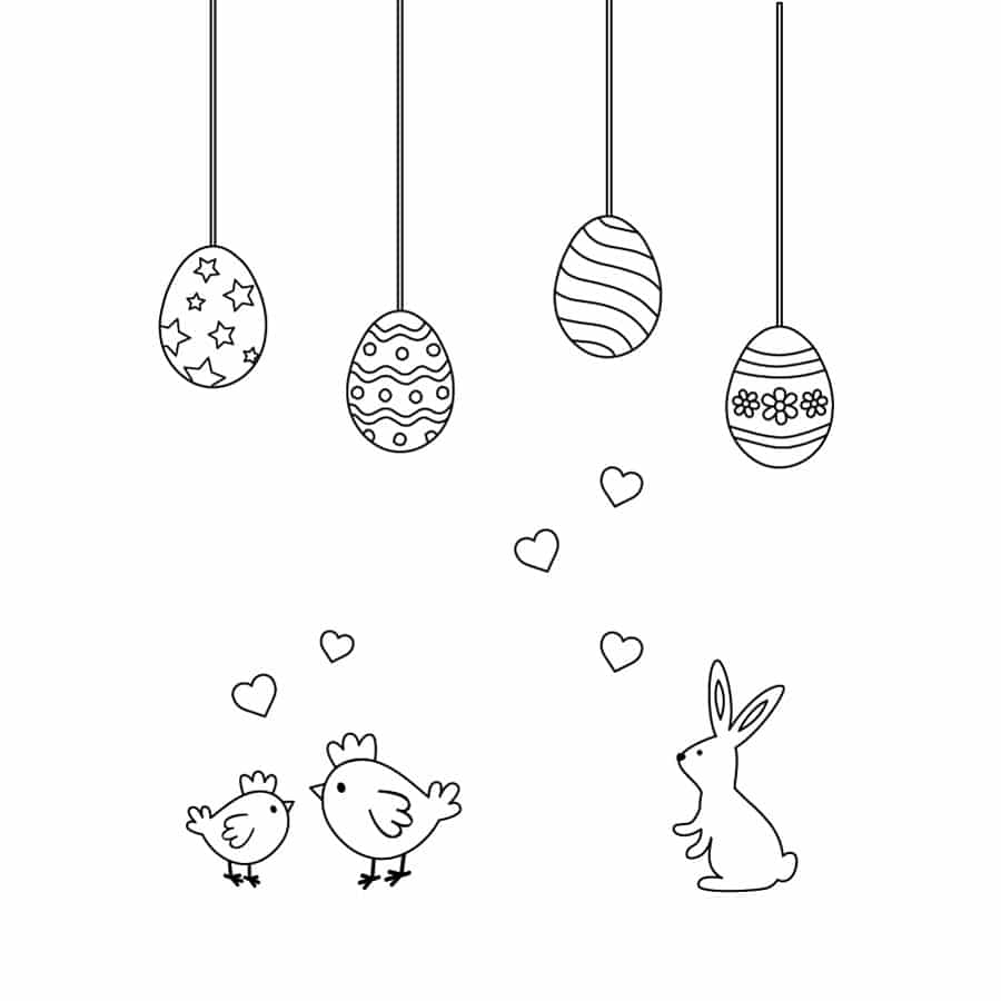 Easter colour in window sticker pack on a white background