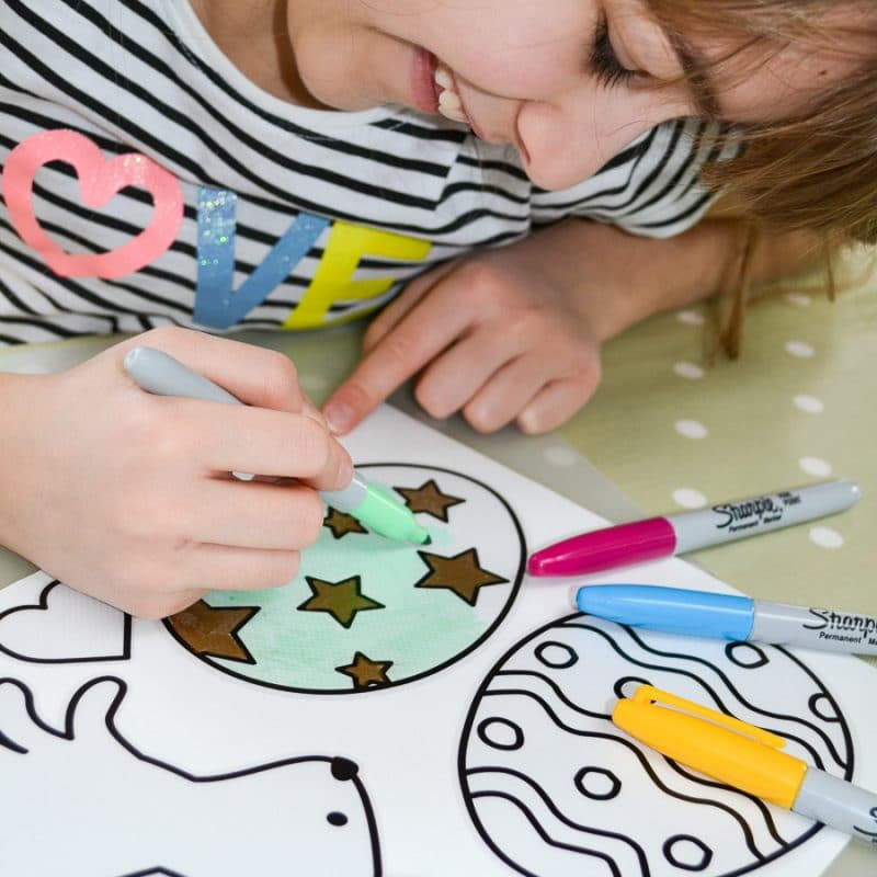 Easter colour in window sticker pack great craft activity to do with the children this Easter
