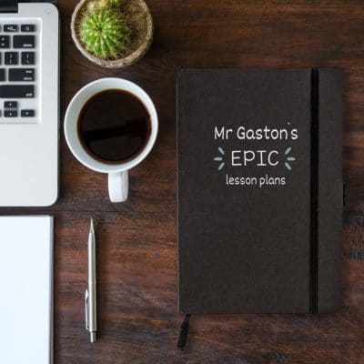 Personalised epic lesson plans notebook in black features the text 'epic lesson plans' with personalised name and is a perfect gift for a teacher or teaching assistant to say thank you