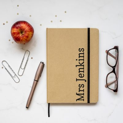 Personalised kraft notebook features the name of your choice in black and is a perfect gift for a teacher or teaching assistant to say thank you