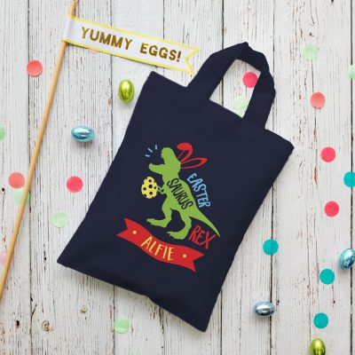 Personalised dinosaur Easter bag (French navy bag) is the perfect way to make your child's Easter egg hunt super special this year