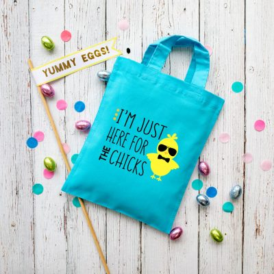 Here for the chicks Easter bag (Blue) perfect for your child's Easter egg hunt this year