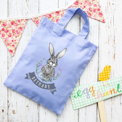 Personalised bunny and flowers Easter bag (Lilac) is the perfect way to make your child's Easter egg hunt super special this year