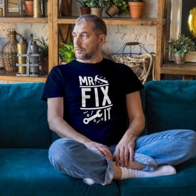 Mr Fix It Men's T-shirt (Navy) perfect gift for fathers day, birthday or Christmas