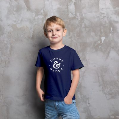 Personalised Child & Dad Children's T-shirt (Navy) perfect gift for fathers day, birthday or Christmas