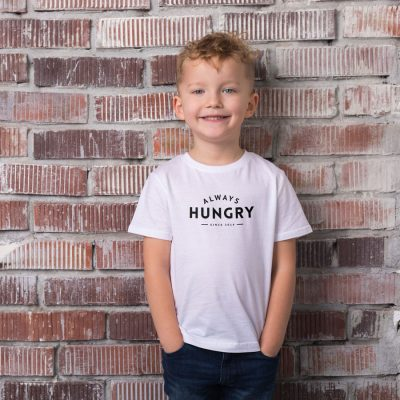 Always Hungry Children's T-shirt (White) perfect gift for fathers day, birthday or Christmas