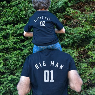 Big Man Little Man T-shirt (Navy) perfect gift for fathers day, birthday or Christmas