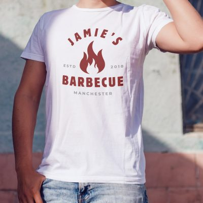 Personalised barbecue flame Men's T-shirt (White) perfect gift for fathers day, birthday or Christmas