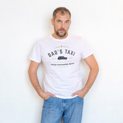 Personalised Dad's taxi Men's T-shirt (White) perfect gift for fathers day, birthday or Christmas