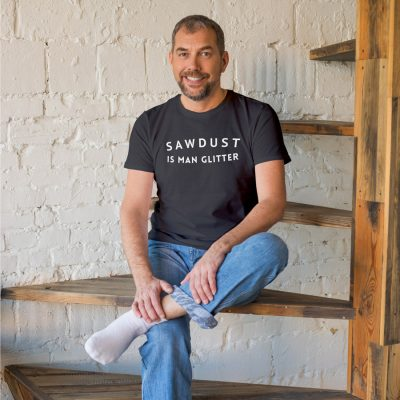 Sawdust is Man Glitter Men's T-shirt (Grey) perfect gift for fathers day, birthday or Christmas
