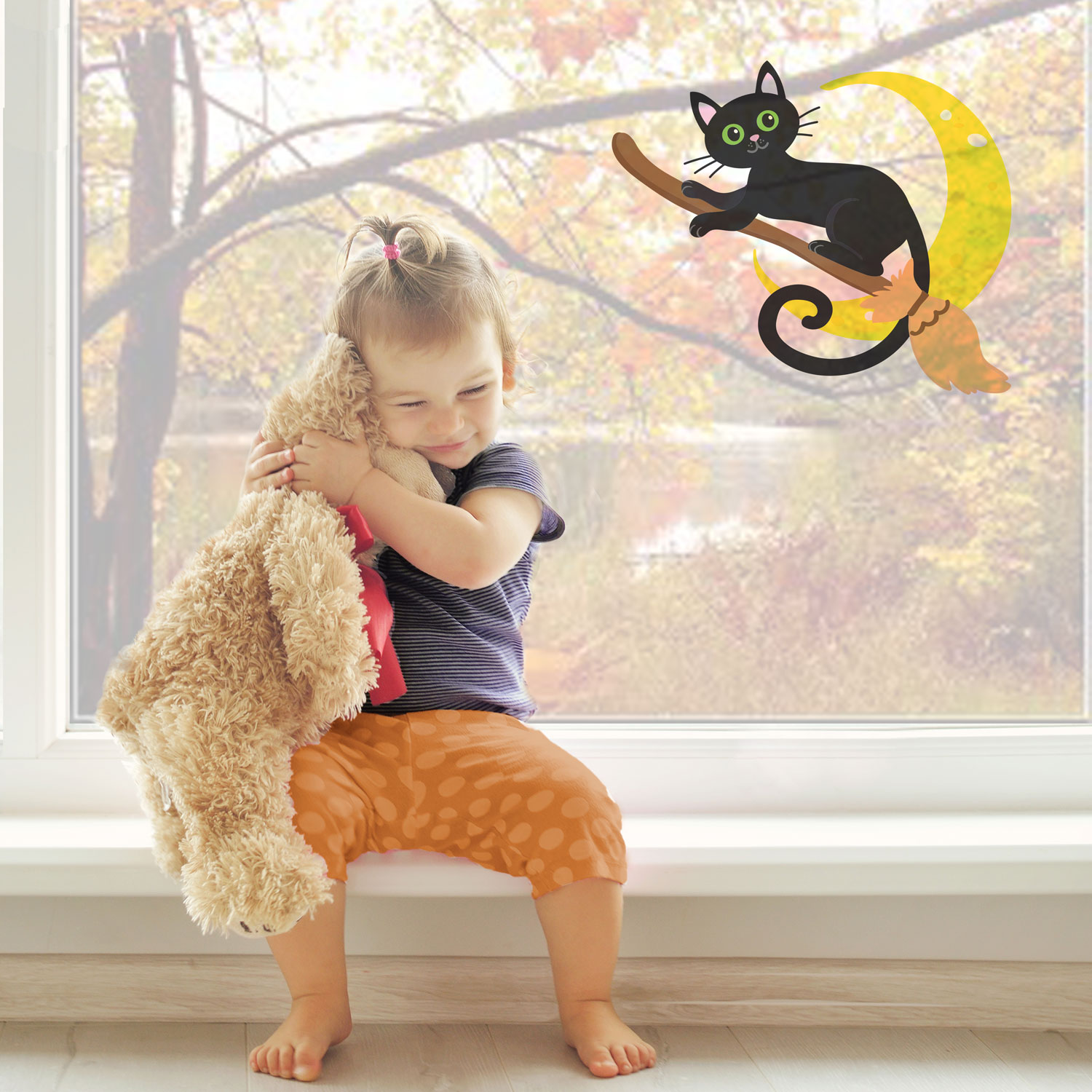 Cat on a broomstick window sticker