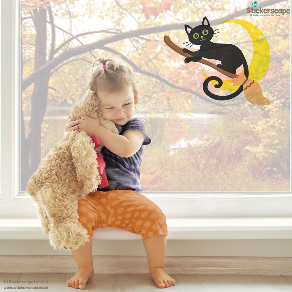 Cat on a broomstick window sticker (Lifestyle) | Halloween window stickers | Stickerscape | UK