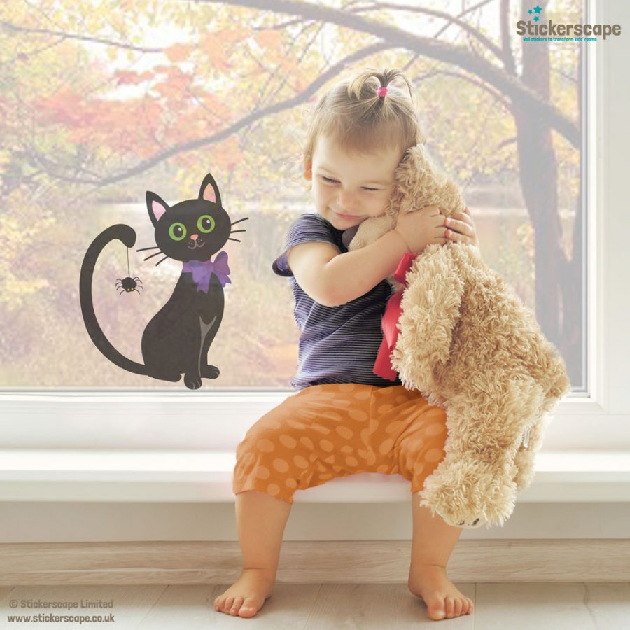 Cat with spider window sticker | Halloween window stickers |