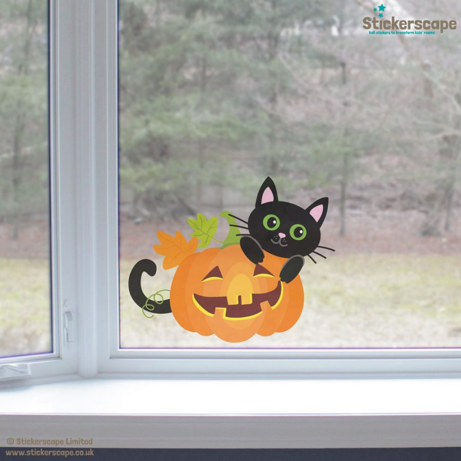 Cat with pumpkin window sticker (Lifestyle)   Halloween window stickers  