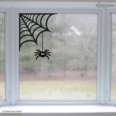 Spider cobweb window sticker 001611w halloween window stickers lifestyle 02