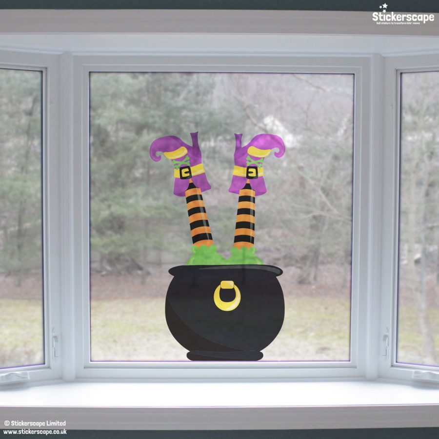 Cauldron and witch window sticker (Lifestyle) | Halloween window stickers | Stickerscape | UK