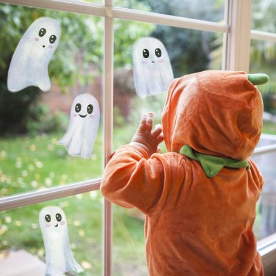 Cute white ghosts window sticker pack features 4 white cute ghost window stickers per sheet and is perfect for decorating a child's bedroom with a Halloween theme
