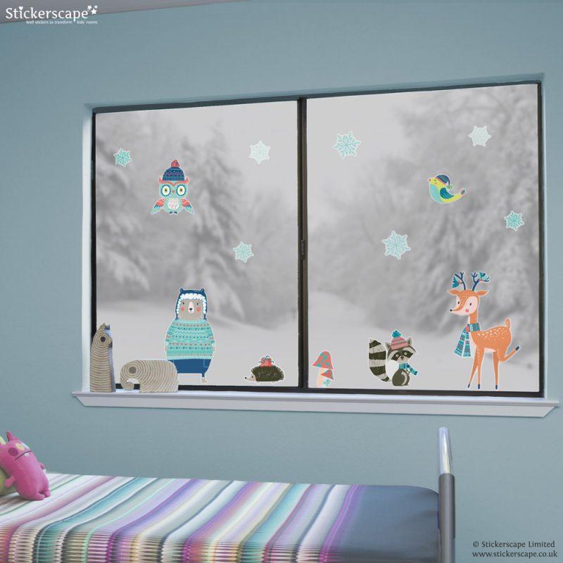 Winter woodland window stickers