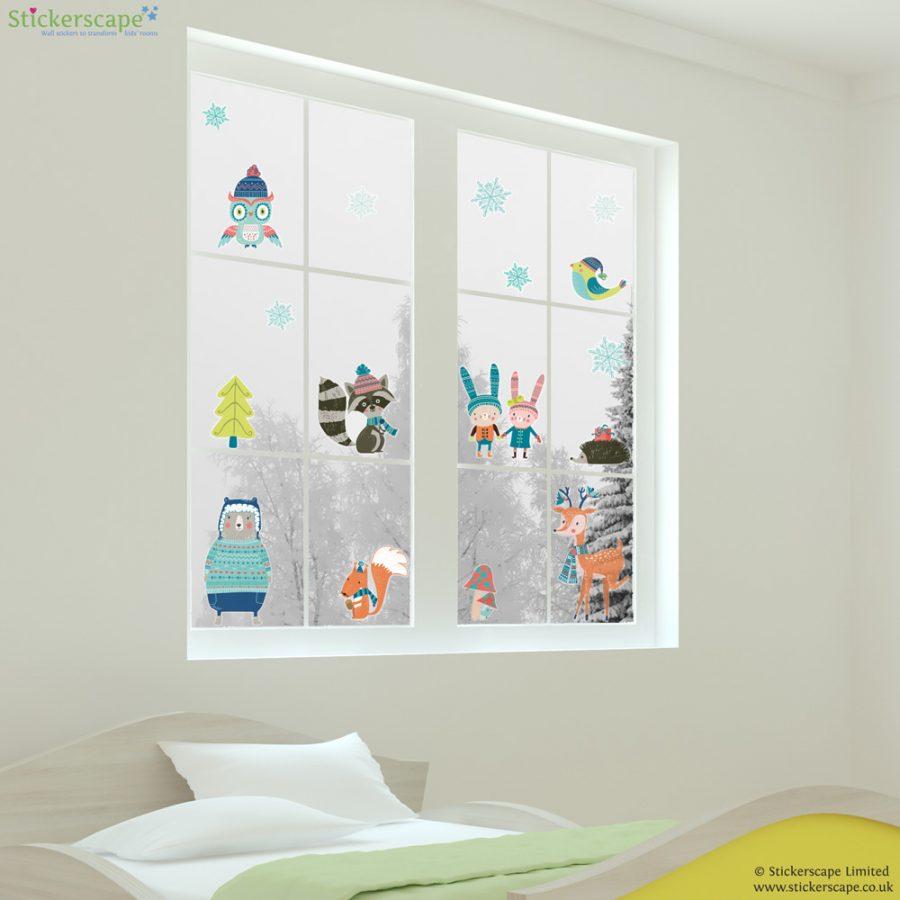 Winter woodland window stickers | Christmas window stickers | Stickerscape | UK