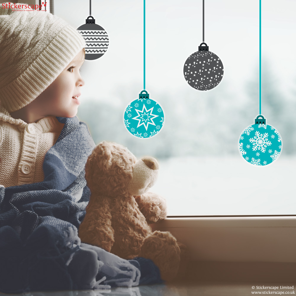 Christmas bauble window stickers (Option 2)   Christmas window stickers   Stickerscape   UK