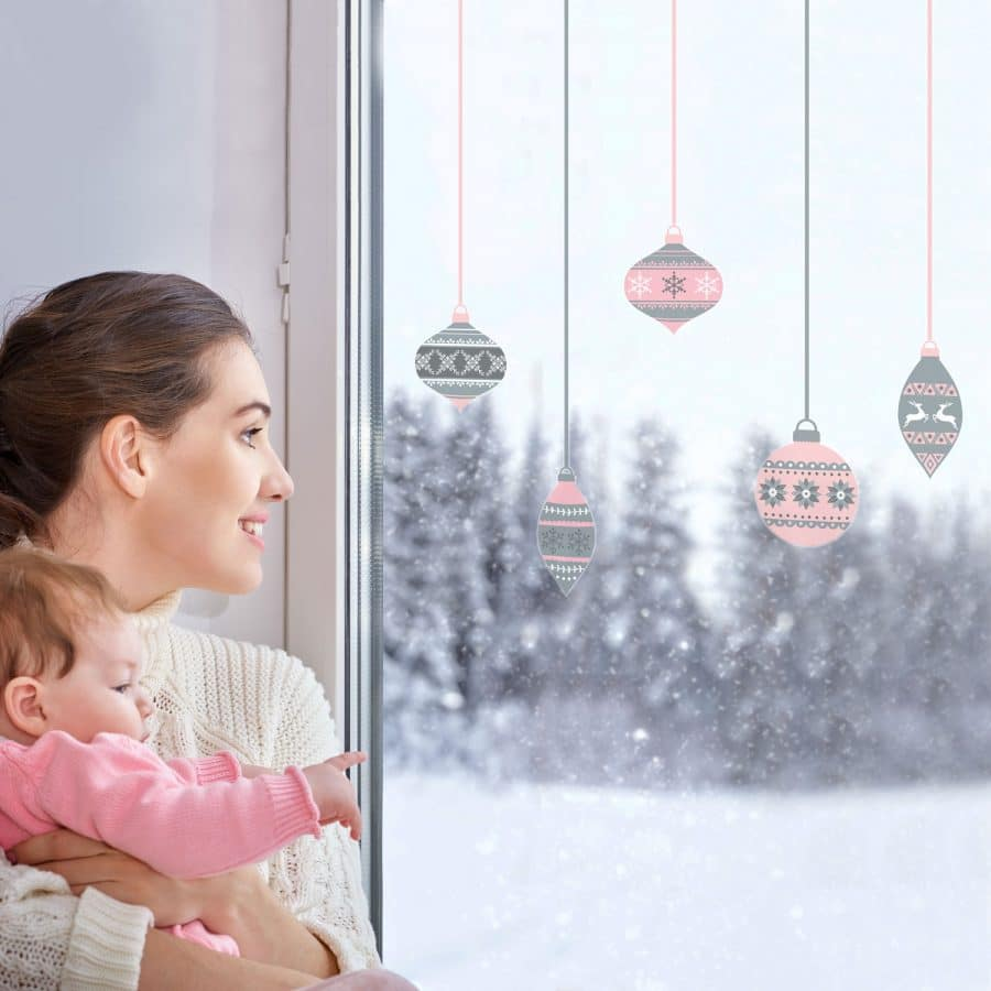 Grey and pink bauble window stickers perfect for decorating your house this Christmas