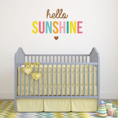 Hello Sunshine wall sticker quote | Nursery wall stickers | Stickerscape | UK