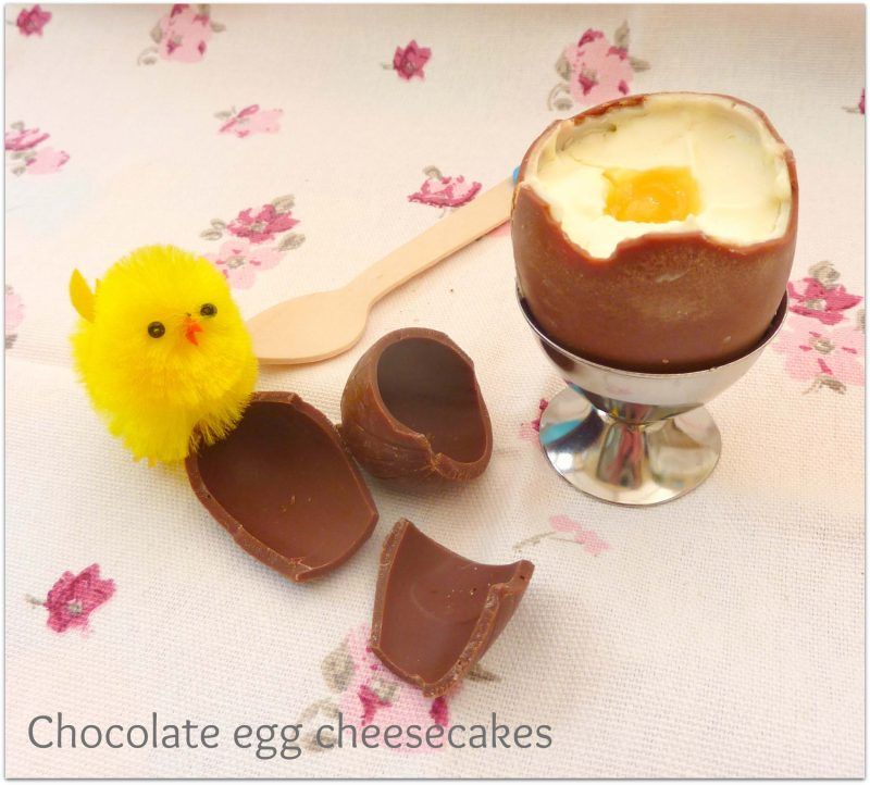 Chocolate egg cheesecakes with Easter chick