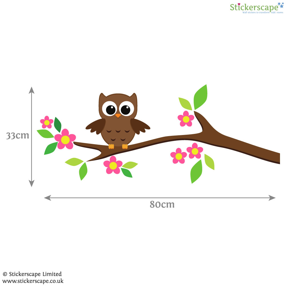 owl on a tree branch wall sticker stickerscape uk family owl tree wall stickers wall stickers for kids