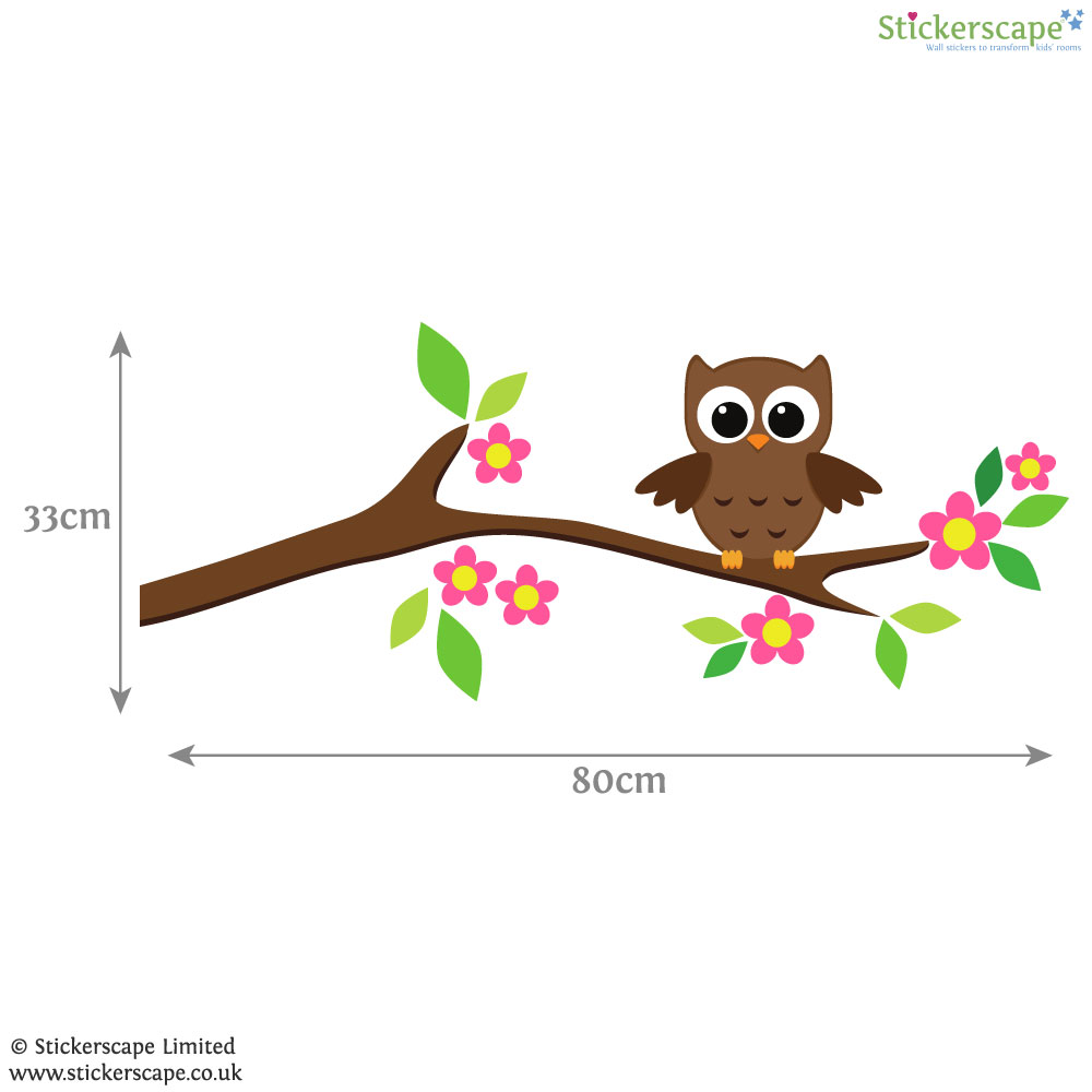 owl on a tree branch wall sticker stickerscape uk owl tree fabric wall sticker littleprints