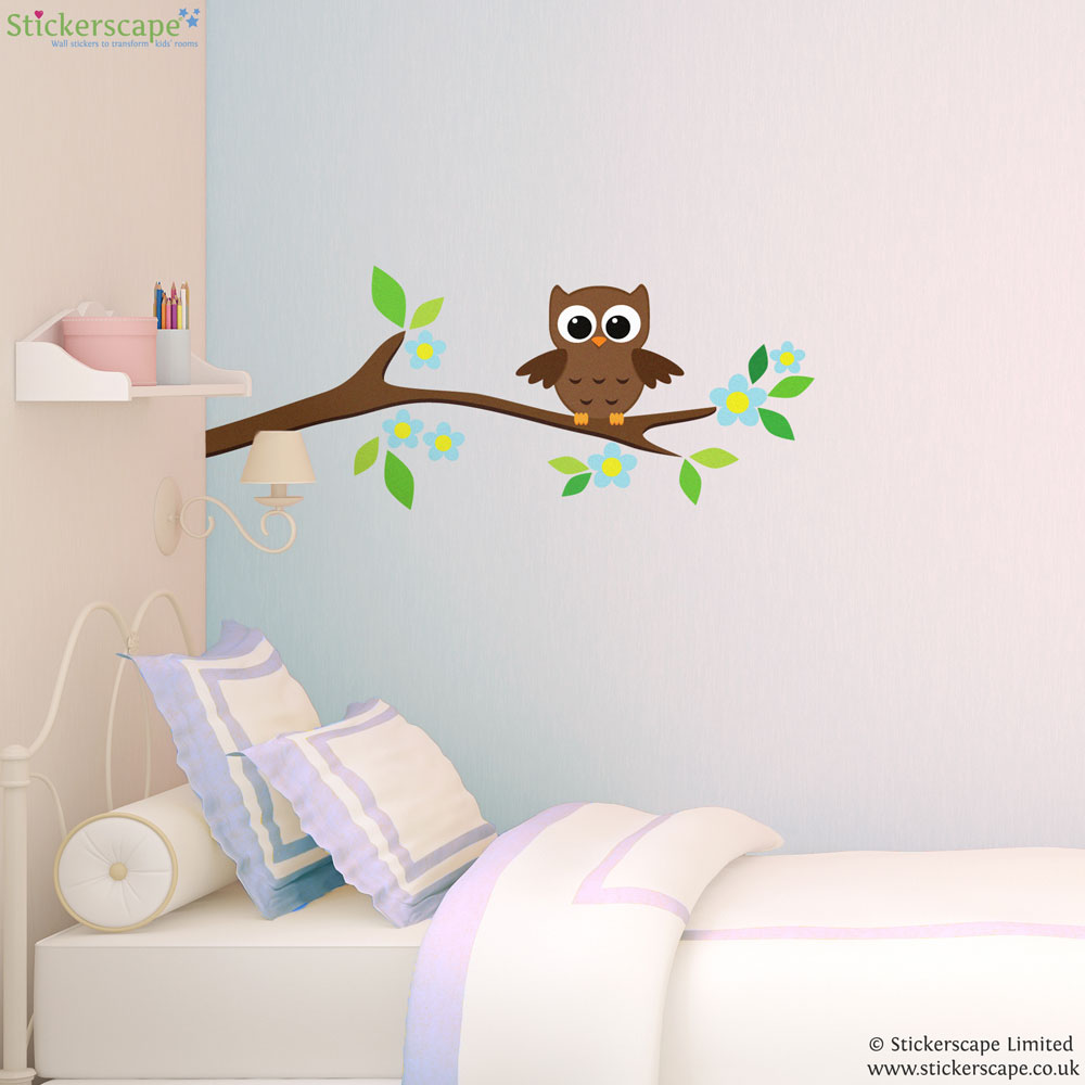 owl on a tree branch wall sticker stickerscape uk owl on tree vinyl wall sticker aa1118