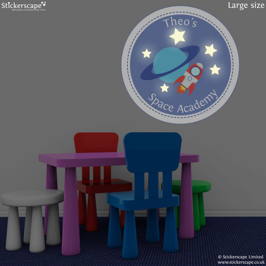 Personalised Space Academy wall sticker | Space wall stickers | Stickerscape | UK