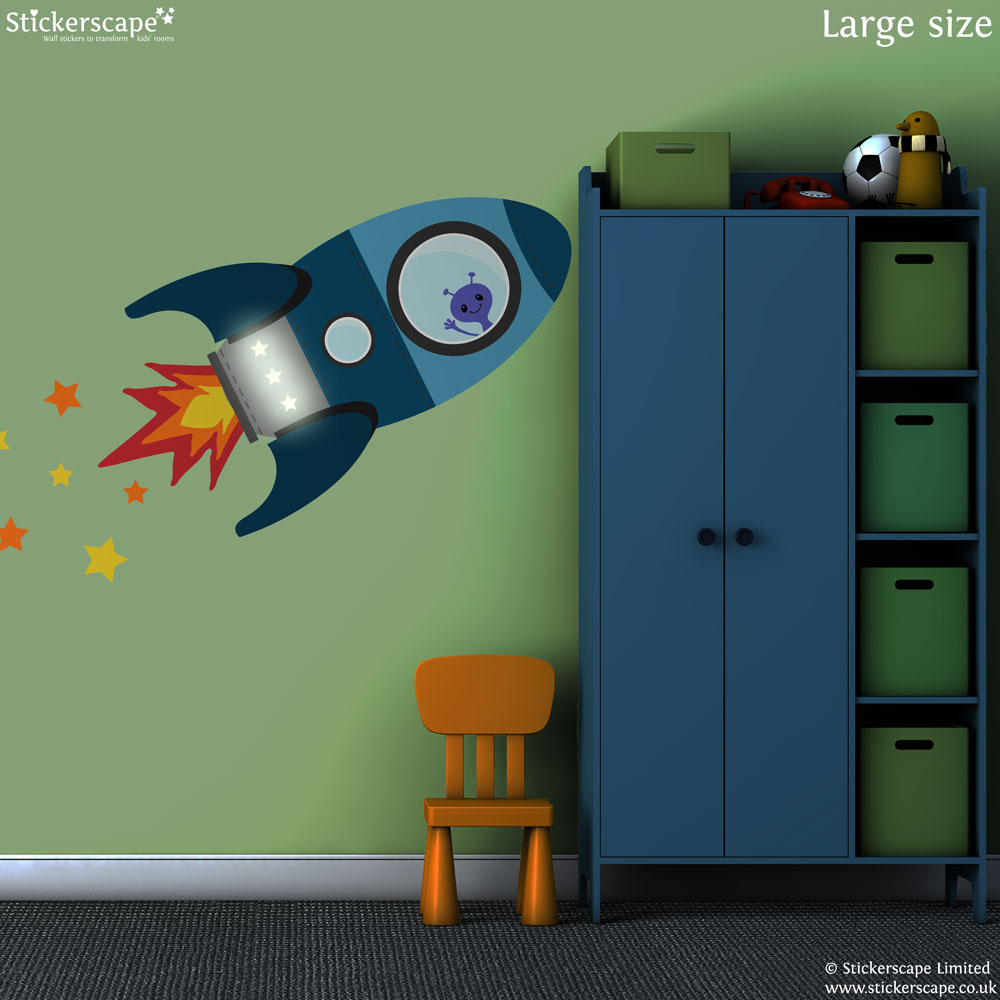 blue flying rocket wall sticker space wall stickers rocket decals for walls submited images