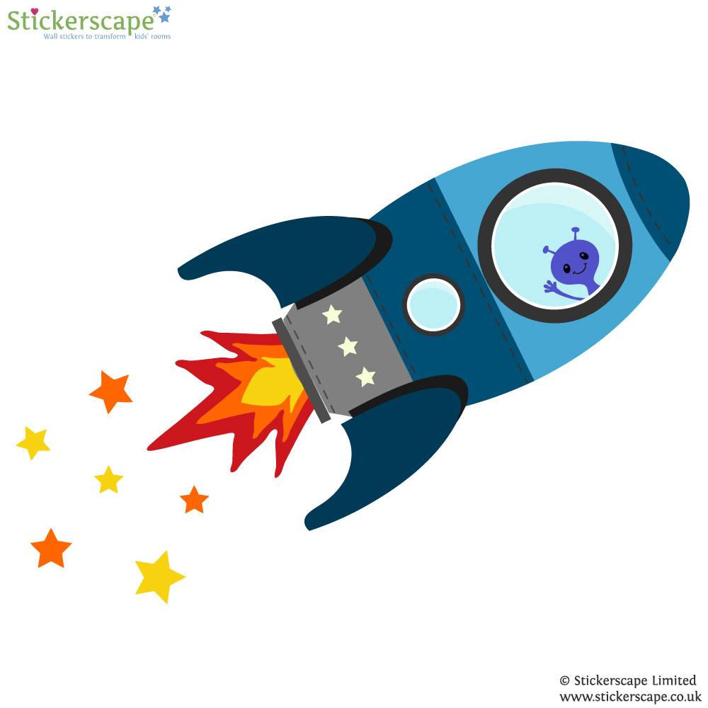 Blue flying rocket wall sticker