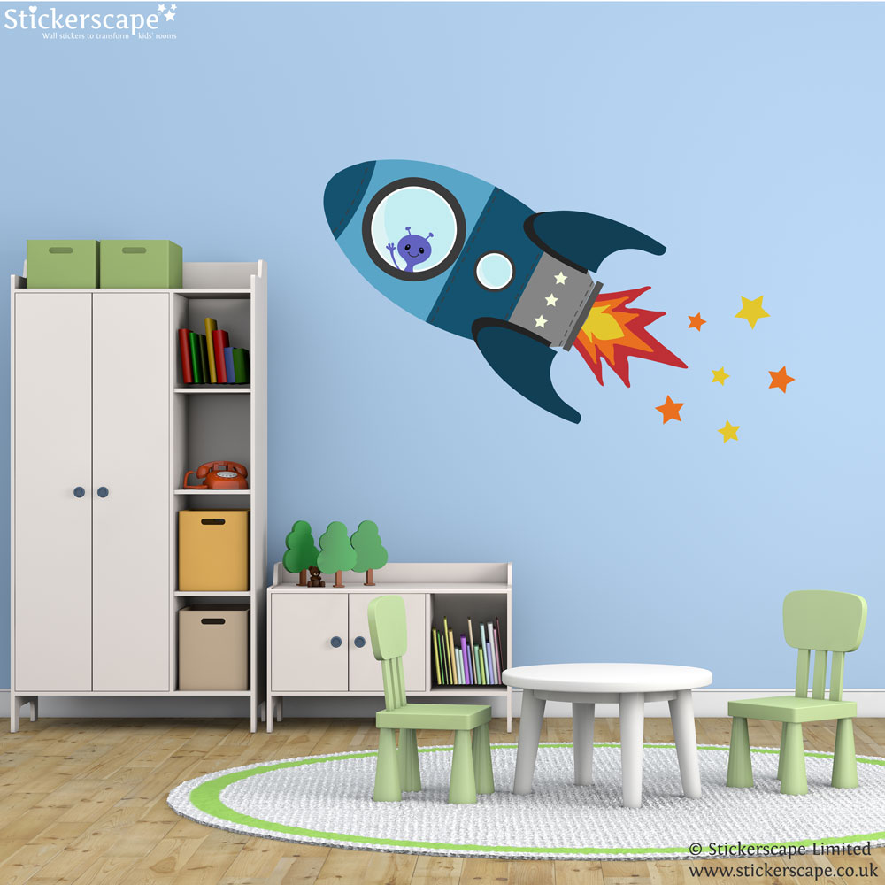 blue flying rocket wall sticker space wall stickers