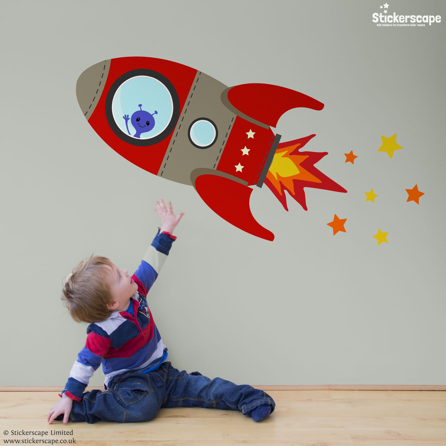 red flying rocket wall sticker stickerscape uk space rockets wall sticker set contemporary wall stickers