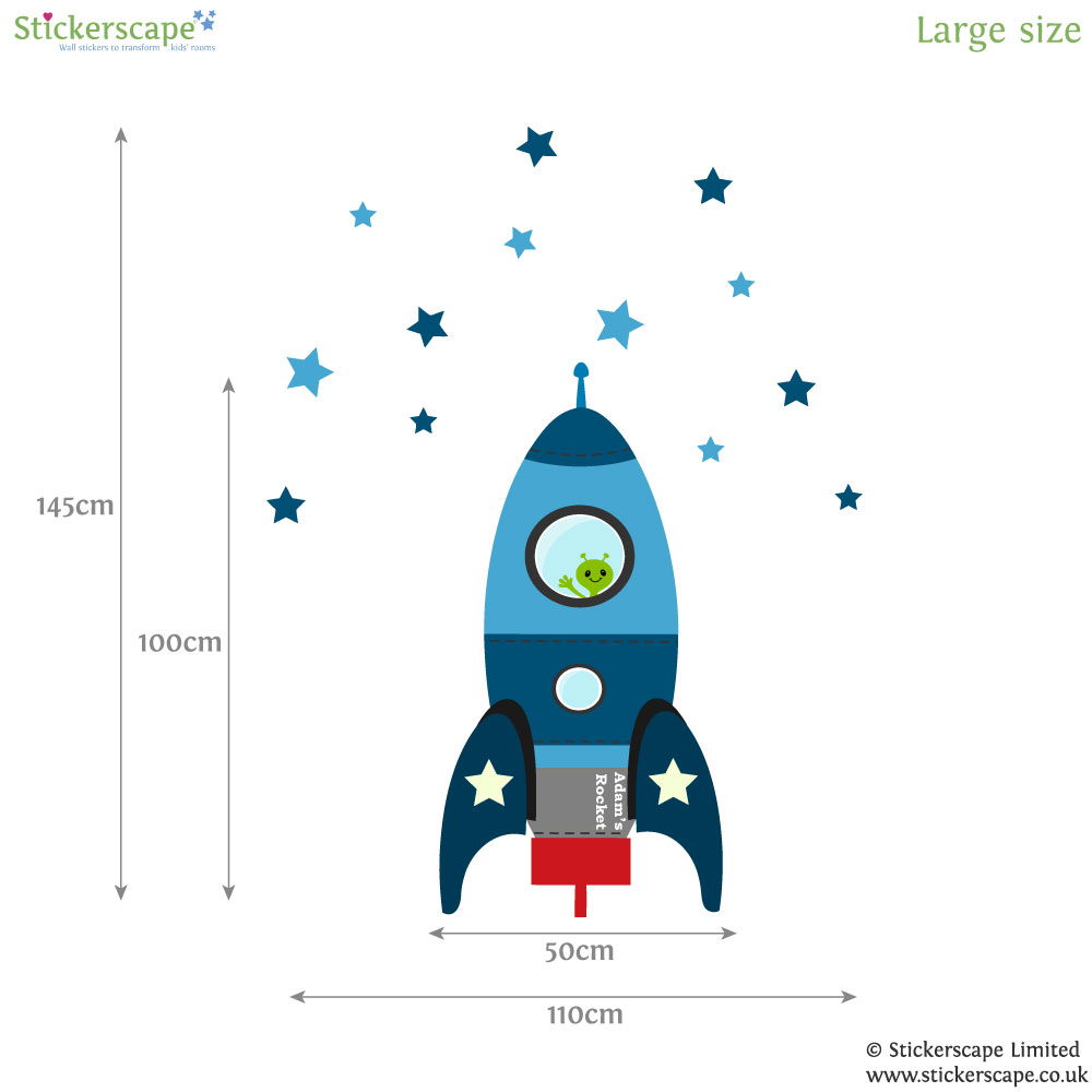 blast off rocket wall sticker blue space wall stickers