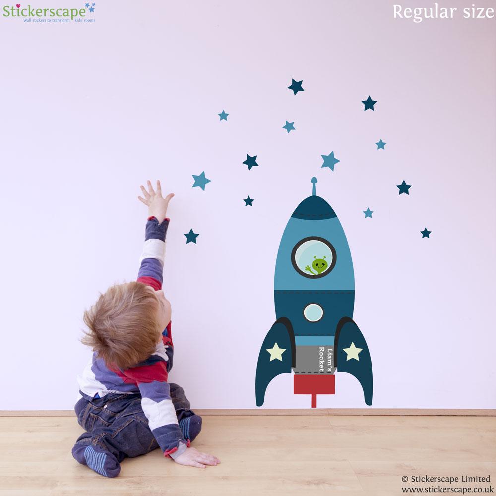 Blue Blast off rocket wall sticker & Blast off rocket wall sticker (Blue) | Space wall stickers ...