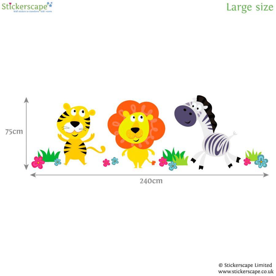 Jungle animal wall stickers (Large size - dimensions) | Jungle wall stickers | Stickerscape | UK