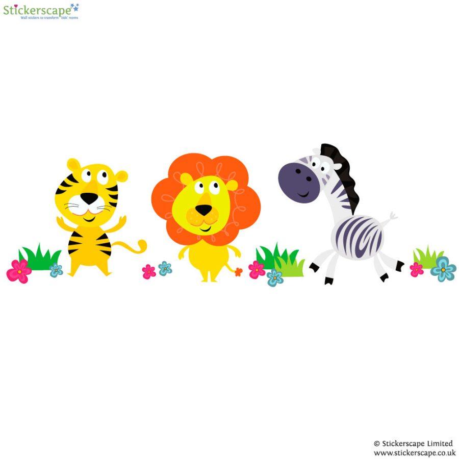 Jungle animal wall stickers (White background) | Jungle wall stickers | Stickerscape | UK