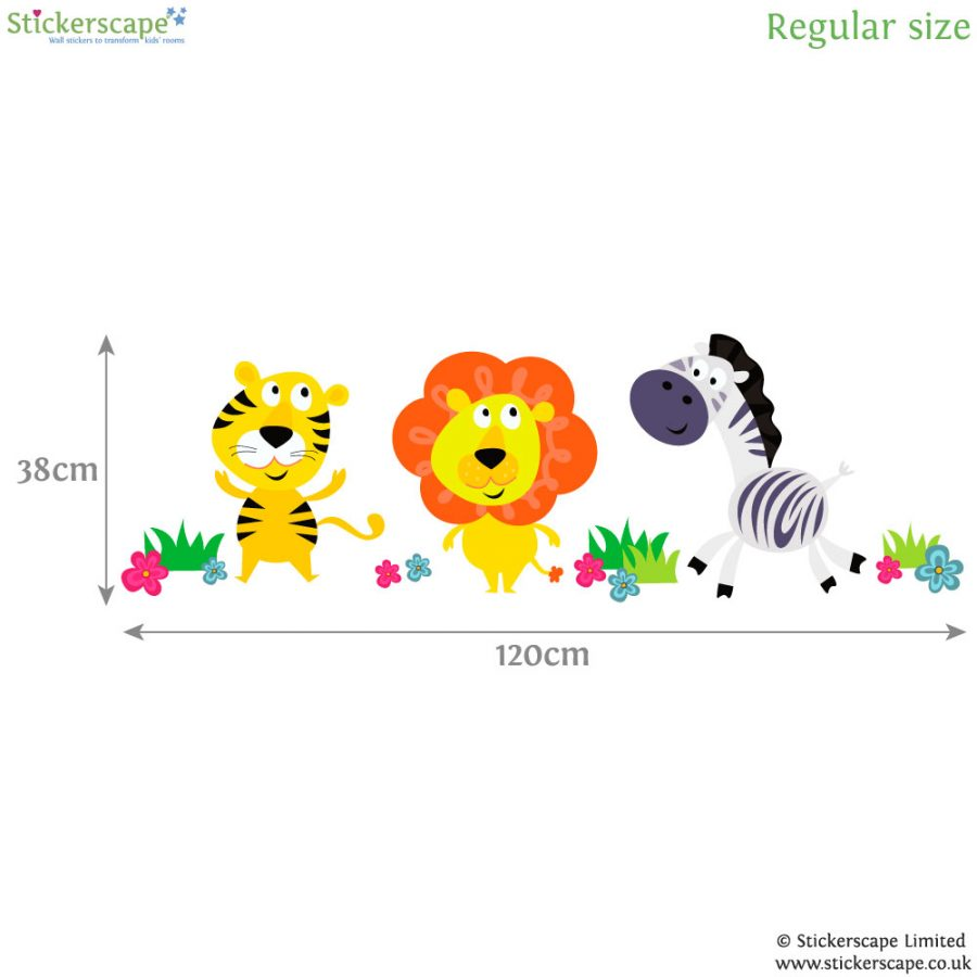 Jungle animal wall stickers (Regular size - dimensions) | Jungle wall stickers | Stickerscape | UK