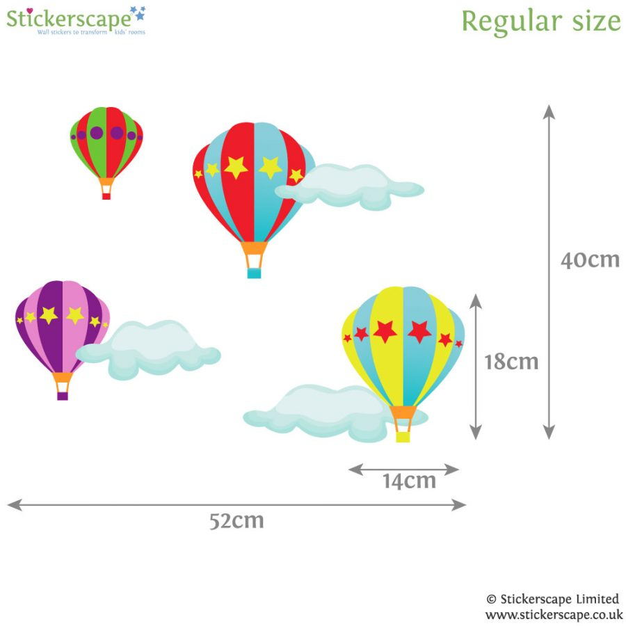Hot air balloon wall stickers (Large size) | Transport wall stickers | Stickerscape | UK