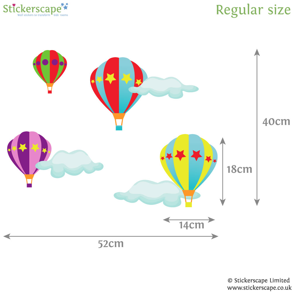 hot air balloon wall stickers stickerscape uk blue animal hot air balloons fabric wall stickers by