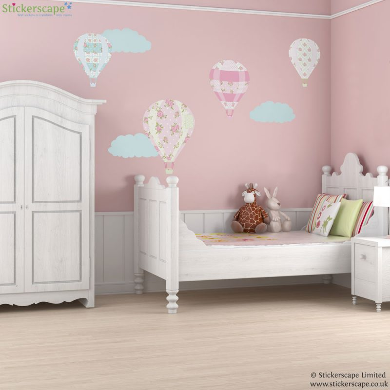 Vintage hot air balloon wall stickers with floral pattern