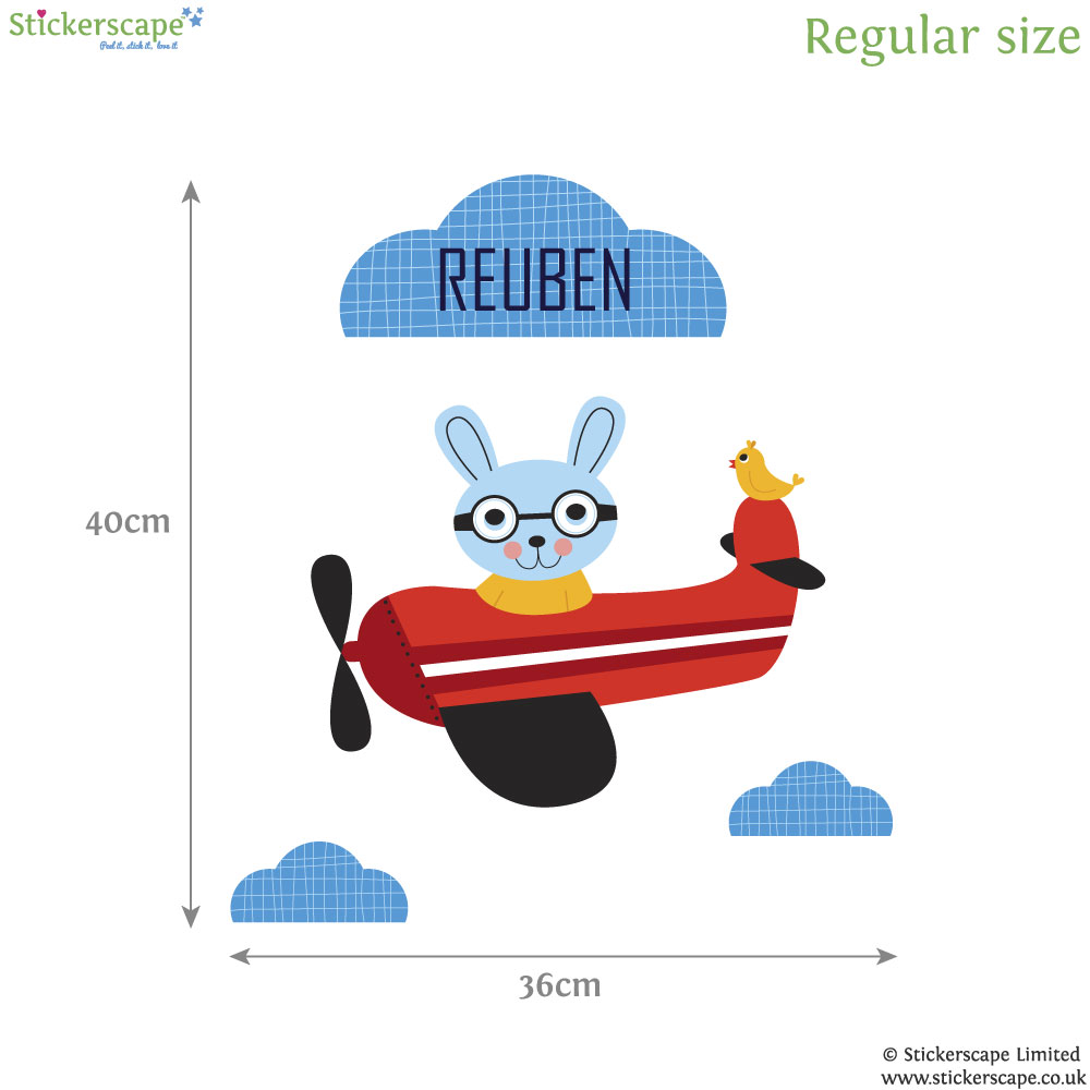personalised bunny pilot and plane wall sticker