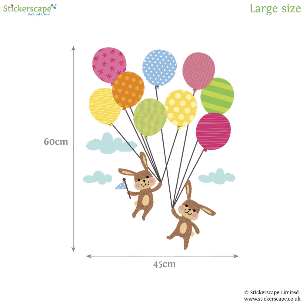 bunnies with balloons wall sticker stickerscape uk clouds amp hot air balloons wall sticker achica