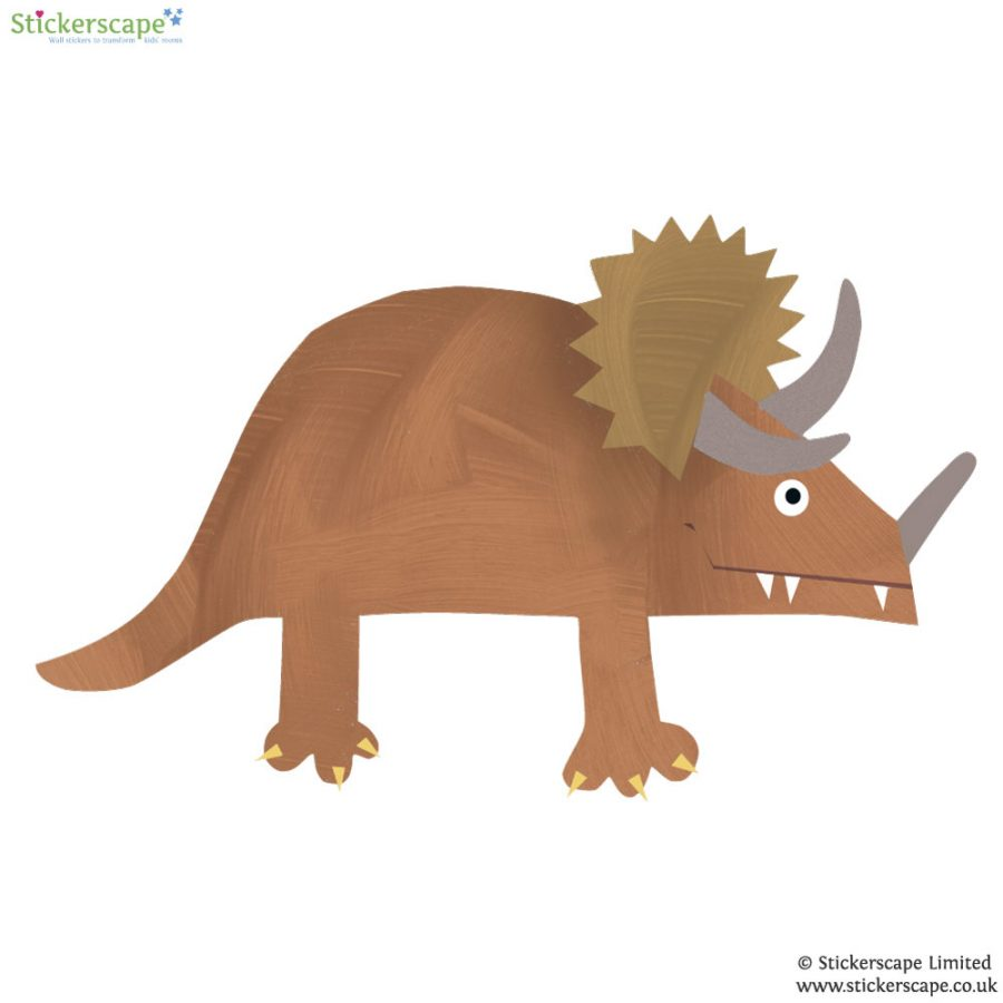 Triceratops wall sticker (Brown) is a great little accessory to a child's room to add a dinosaur theme