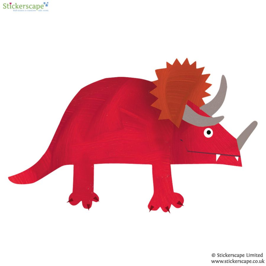 Triceratops wall sticker (Red) is a great little accessory to a child's room to add a dinosaur theme